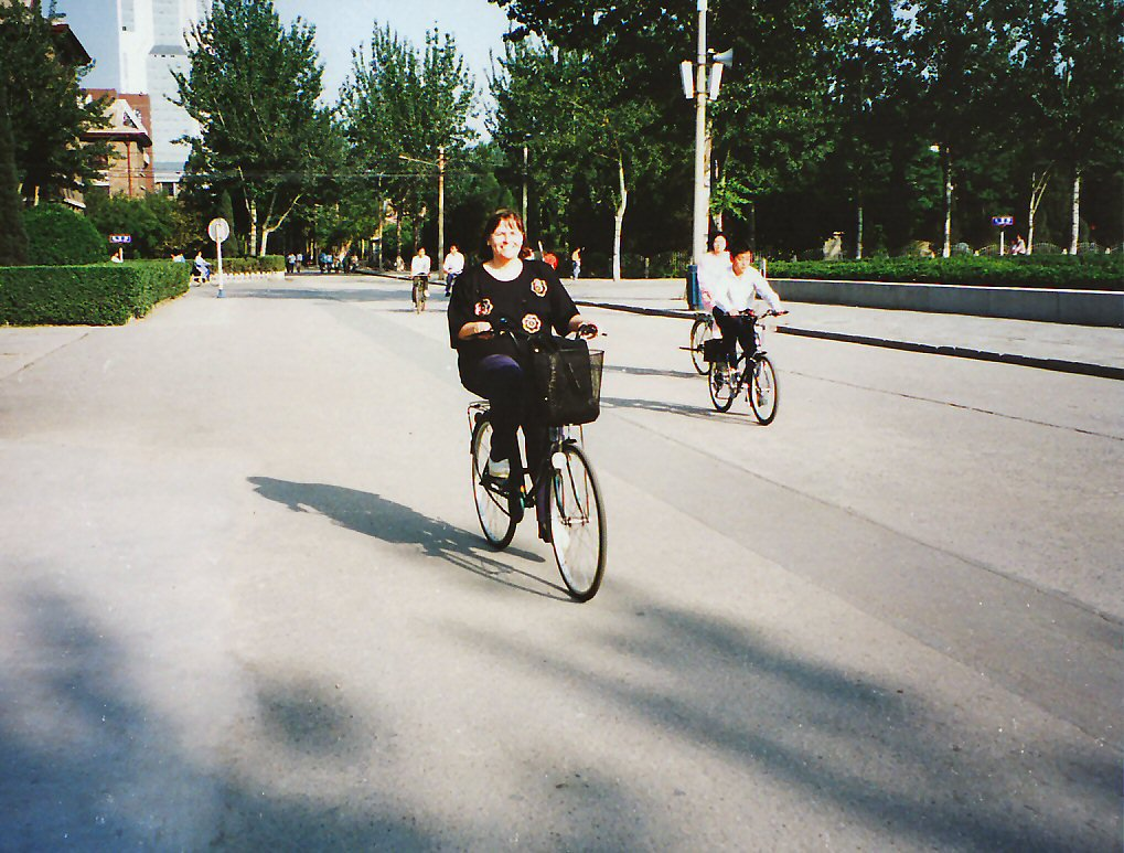 Riding my bike to work in Tienjin China, 1995