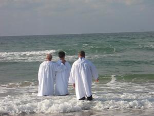 A baptism in the Mediterranean Sea, Haifa, Israel.