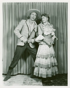 "Will and Ado Annie singing ""All or Nuthin'"" in the 1950s Broadway production of Oklahoma"