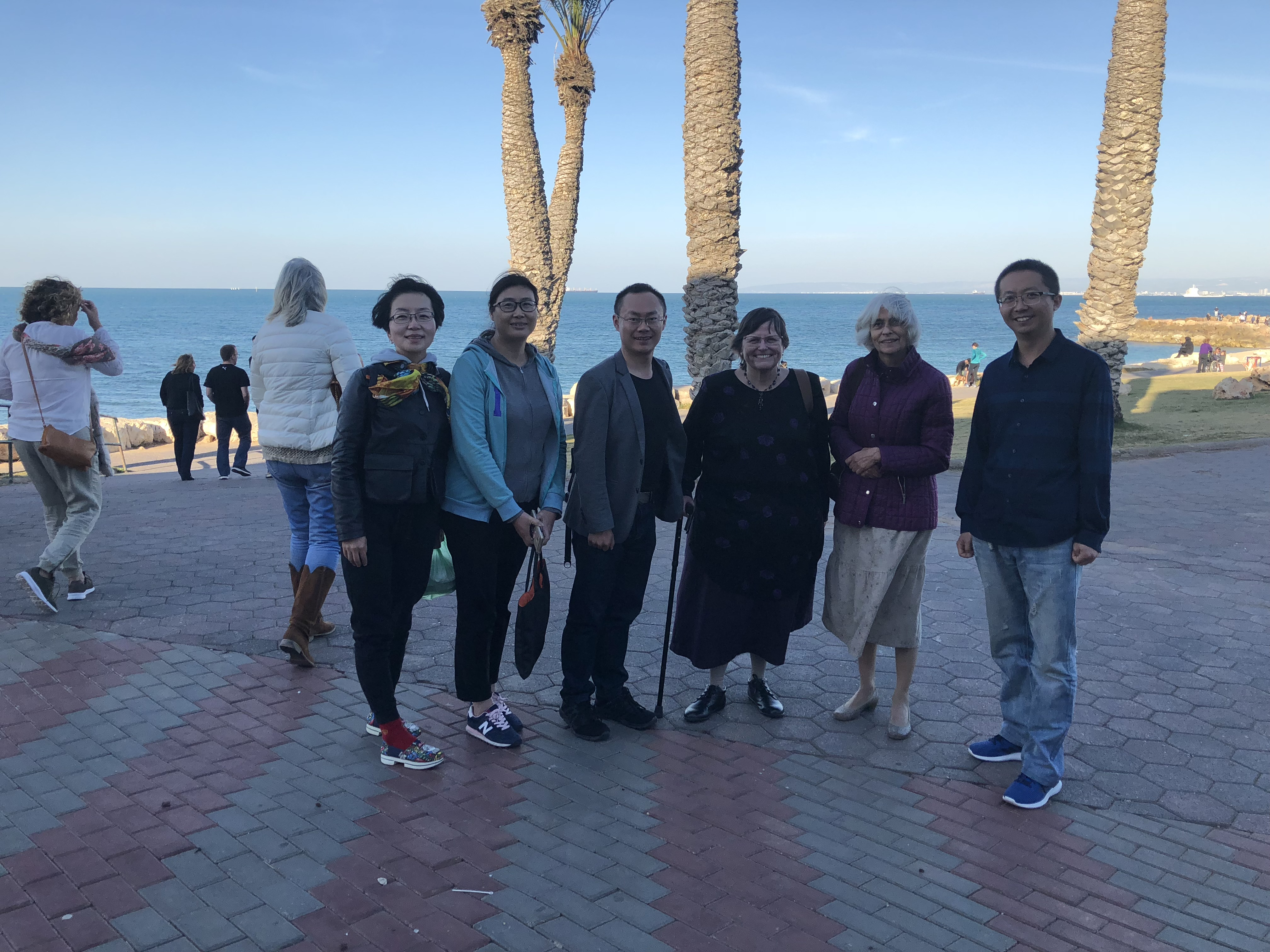 My new Chinese friends with a friend at the Bat Galim beach.